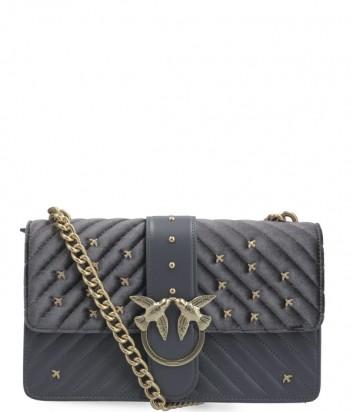 Кожаная сумка Pinko Love Bag 1P217R с сатиновой отделкой серая