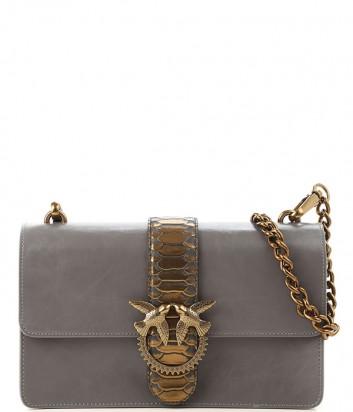 Кожаная сумка Pinko Love Pithon Bag 1P2185 на цепочке серая