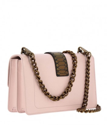 Кожаная сумка Pinko Love Pithon Bag 1P2185 на цепочке розовая