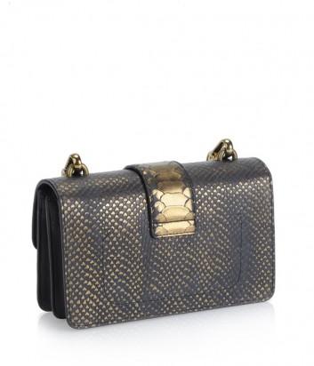 Серая сумка Pinko Love Mini Bag 1P2183 с текстурой питона и бронзовым отливом