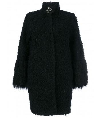 Черное пальто из шерстяного микса BLUGIRL декорировано брошью