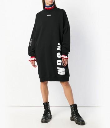 Черное трикотажное платье оверсайз MSGM с крупным лого