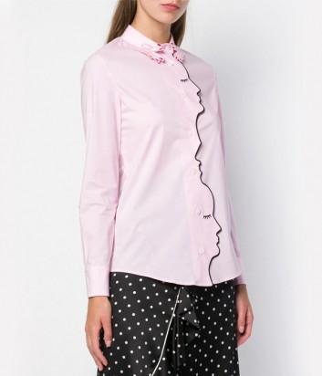 Розовая хлопковая рубашка Vivetta с изображением лиц по канту