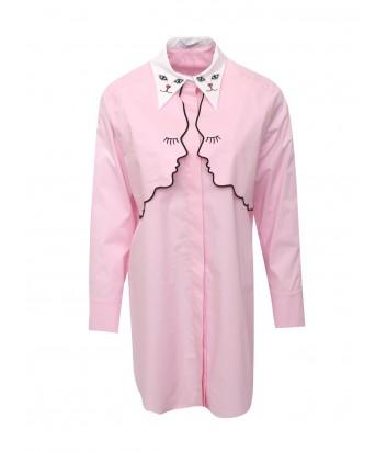 Розовая хлопковая блуза Vivetta с вышивкой и котиками на воротнике