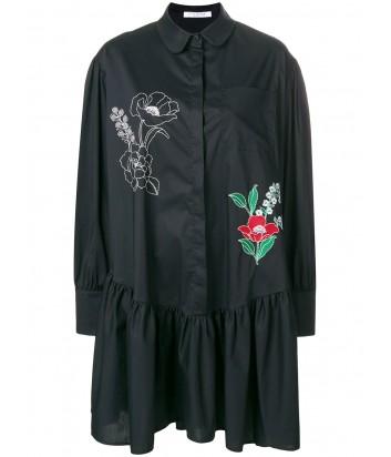 Черное платье-рубашка Vivetta с яркой цветочной вышивкой