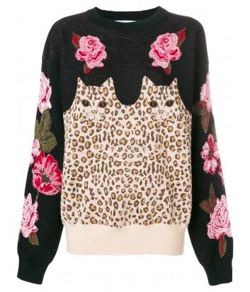 Черный свитер Vivetta с леопардовым принтом и розами