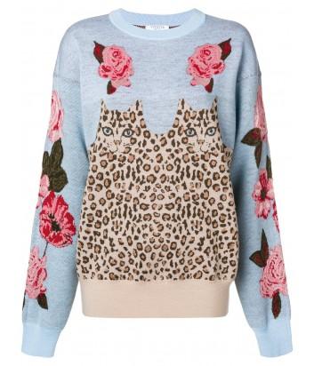 Голубой свитер Vivetta с леопардовым принтом и розами