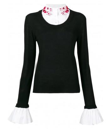 Черный свитер Vivetta с белым декорированным воротничком