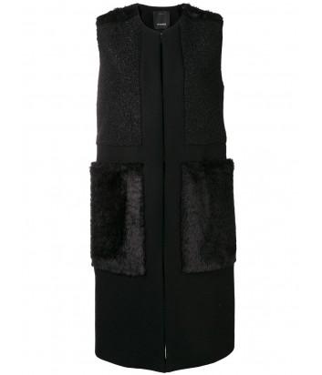 Черный жилет PINKO 1B13C0 с меховыми карманами