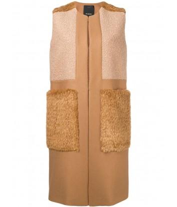 Карамельный жилет PINKO 1B13C0 с меховыми карманами