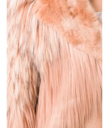 Бежево-персиковая шуба PINKO 1B13B6 из эко-меха различной текстуры