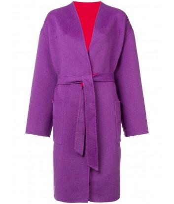 Шерстяное двухстороннее пальто PINKO 1B13AM фиолетово-красное