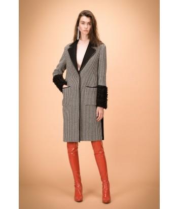 Принтованное пальто PINKO 1B1395 с меховыми манжетами
