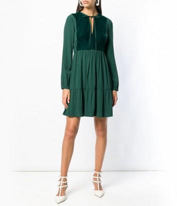 Изумрудное платье PINKO 1G13FM средней длины с расклешенной юбкой