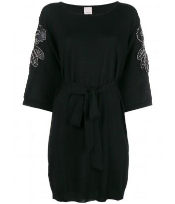 Черное трикотажное платье PINKO 1G13CV с вышивкой из бисера