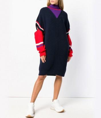 Теплое трикотажное платье PINKO 1G13GG с разрезами на рукавах