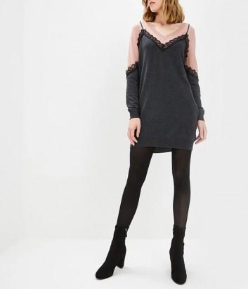 Трикотажное платье PINKO 1B13E3 с кружевной отделкой серо-розовое