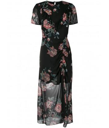 Черное макси-платье PINKO 1G13FL с цветочным принтом