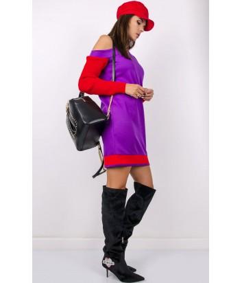 Фиолетовое трикотажное платье PINKO 1B13D6 с красными рукавами