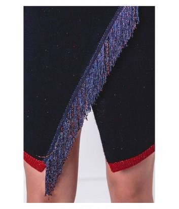 Синий костюм PINKO 1G13DJ юбка и джемпер декорированный бахромой
