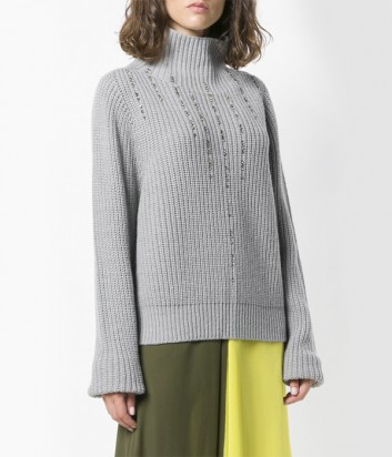 Серый свитер с горловиной PINKO 1G13GD декорированный камнями