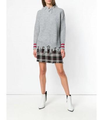 Серый свитер PINKO 1G13HQ с необработанным краем