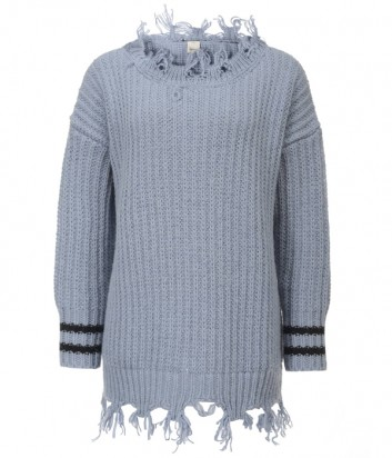 Удлиненный серый свитер PINKO 1G13HS с необработанным краем