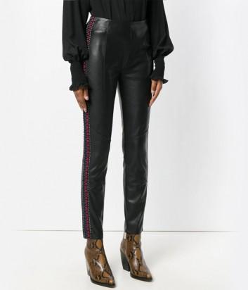 Черные брюки-скинни PINKO 1G13LS с боковыми лампасами