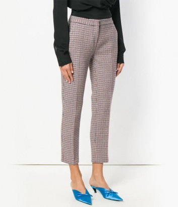 Шерстяные бежевые брюки PINKO 1B13MQ с принтом
