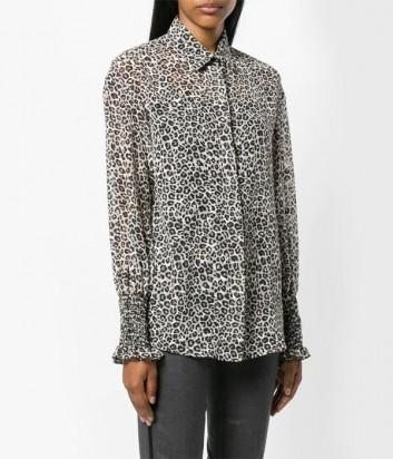 Полупрозрачная блуза PINKO 1G13HF с леопардовым принтом
