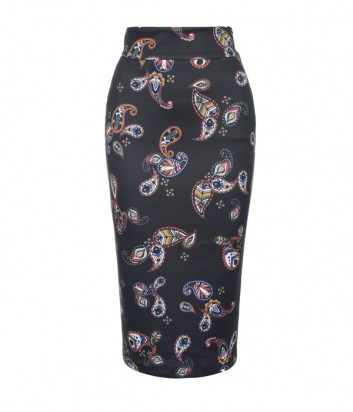 Черная юбка-карандаш PINKO 1G13JF с ярким принтом