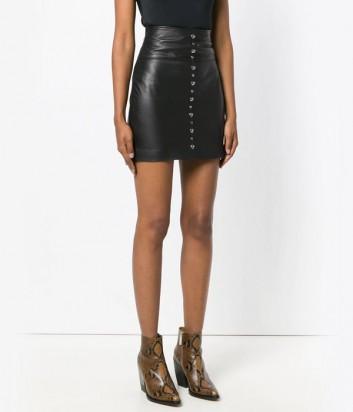 Черная кожаная юбка PINKO 1B13EU с завышенной талией