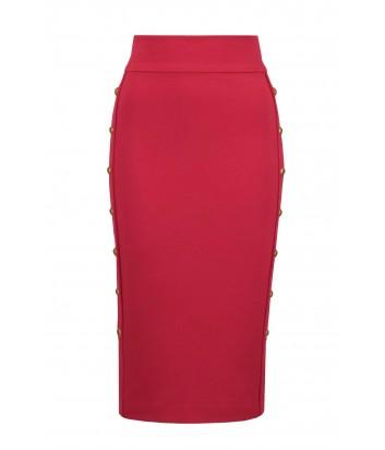 Красная юбка-карандаш PINKO 1B13KR с пуговицами по бокам