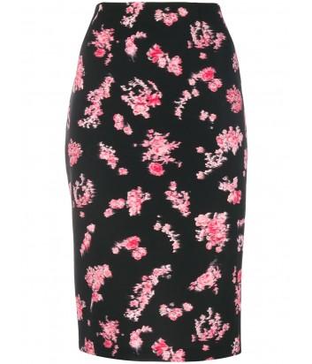 Трикотажная юбка карандаш PINKO 1B13FX черная с цветочным принтом