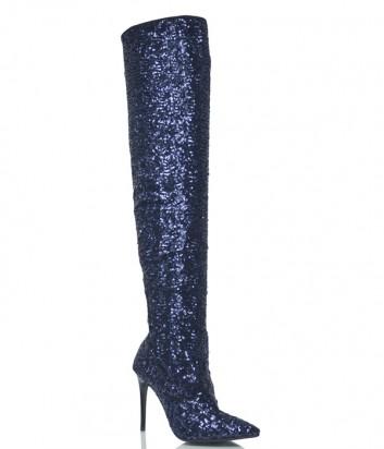 Высокие кожаные сапоги Islo Isabella Lorusso 005DEB полностью расшиты синими пайетками