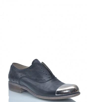 Черные кожаные туфли Spaziomoda 9117 с металлическим носком