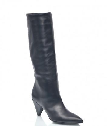 Черные кожаные сапоги Spaziomoda 789 на среднем каблуке