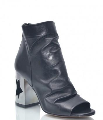 Черные кожаные ботильоны Roberto Serpentini 1199 с открытым носком