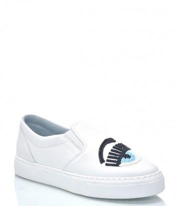 Белые кожаные слипоны Chiara Ferragni 9231 с декором на носке