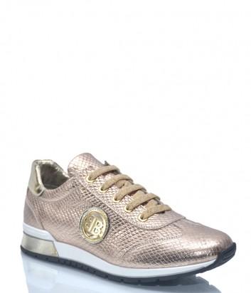 Женские кроссовки Baldinini 9123 в текстурной коже золотые