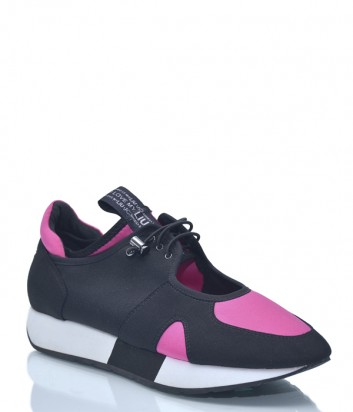 Черные кроссовки Liu Jo 9919 с розовыми вставками