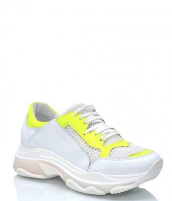 Белые кожаные кроссовки Charme 9557 с желтыми вставками