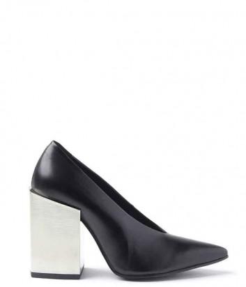 Черные кожаные туфли Vic Matie на широком металлическом каблуке
