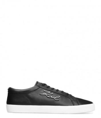 Мужские кожаные кеды Karl Lagerfeld Signature черные