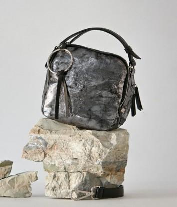 6f6eab42b615 ... Серебряная сумка Vic Matie Clarissa с эффектом ламинированной  потрескавшейся кожи ...