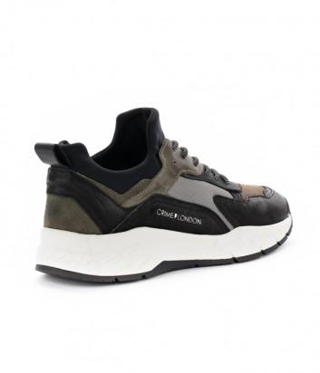 Кожаные кроссовки Crime London Komrad черные с оливковыми вставками