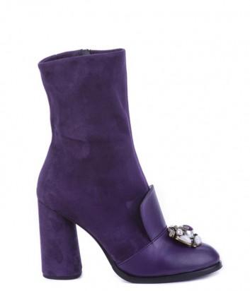Замшевые полусапоги Helena Soretti 5020 с кожаными вставками фиолетовые