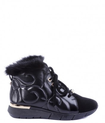 Кожаные ботинки Helena Soretti 3017 с замшевыми вставками на меху