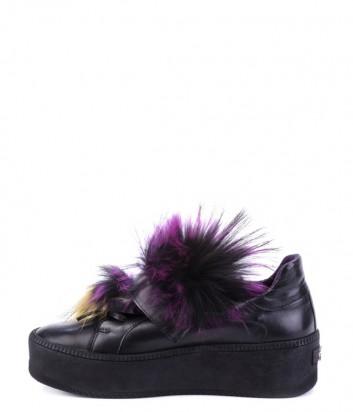 Черные кроссовки Helena Soretti 3010 декорированные цветным мехом