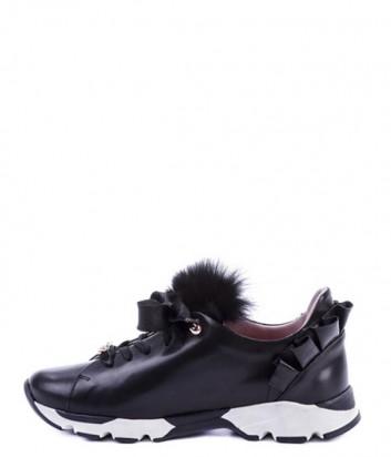 Черные кожаные кроссовки Helena Soretti 3041 с декором